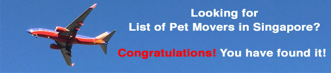 list of pet movers Singapore pet relocation